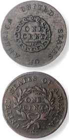 The first American cent, known as the chain cent.