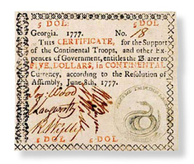 $5 note issued by Georgia in 1777