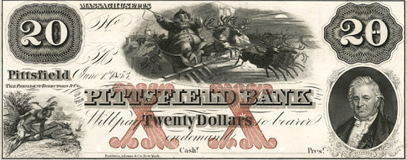 $20 private bank note, 1850s