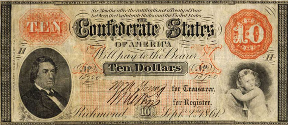 $10 Confederate note