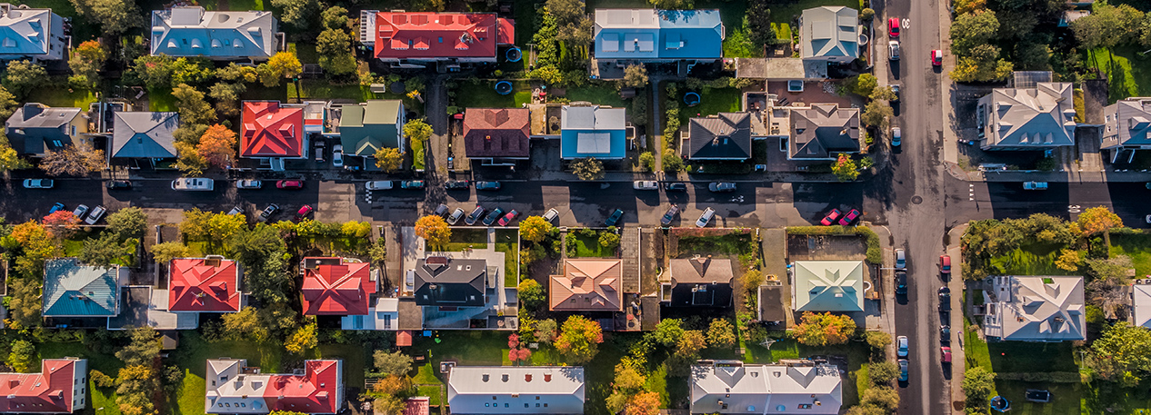 Aerial photo of single-family homes in a suburban neighborhood