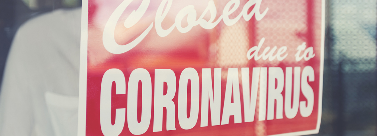 Sign that reads 'Closed due to Coronavirus'