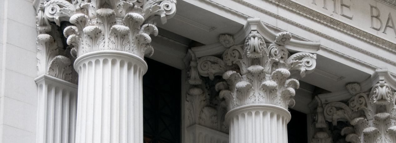 Bank building with ornate white columns