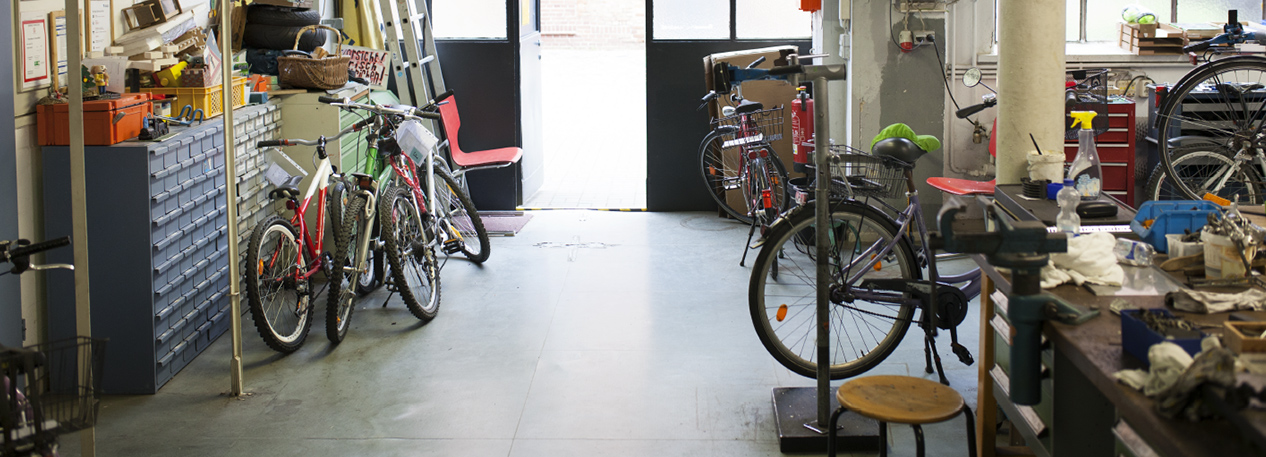 Interior of a bicycle repair shop