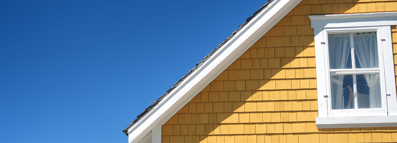 Close-up of a slanted roofline silhouetted against the blue sky