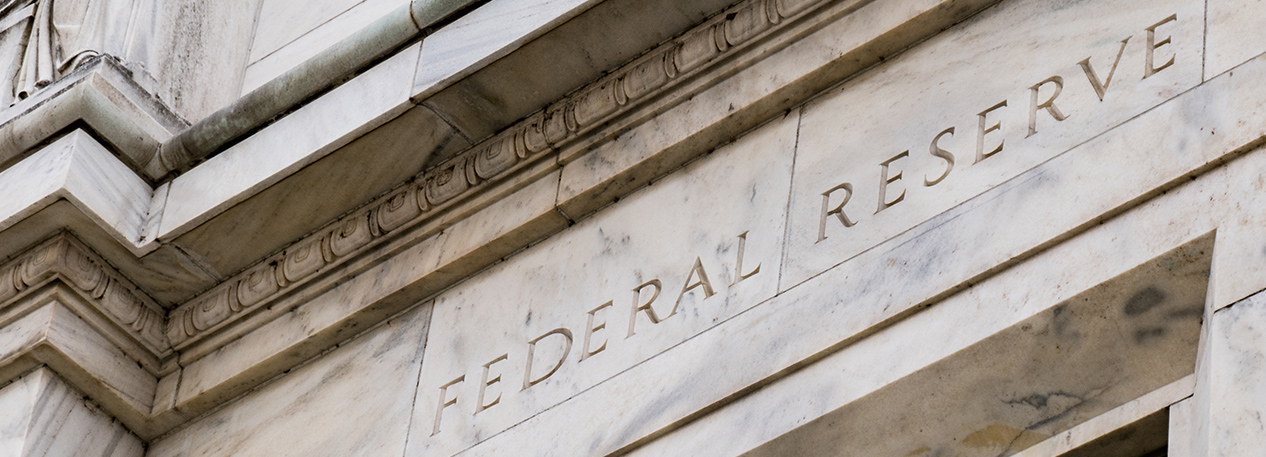 "Marble building with the words ""Federal Reserve"" inscribed"