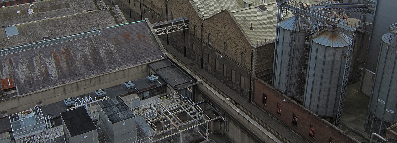 Aerial view of an old factory