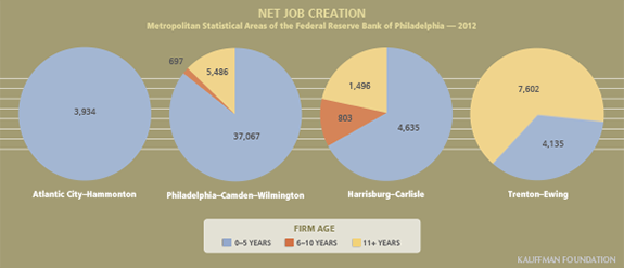 Net Job Creation by Firm Age in Four Metropolitan Statistical Areas of the Third Federal Reserve District in 2012