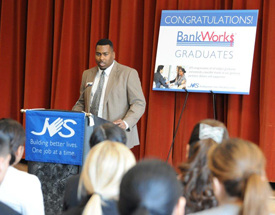After Dominique Satterwhite graduated from BankWork$ in 2013, he was hired by Bank of America as a teller, had two promotions, and is now a personal banker. He had worked as a shift manager in a fast food location before entering the BankWork$ program.