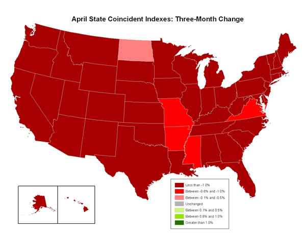 Map of the U.S. showing the State Coincident Indexes Three-Month Change in April 2009