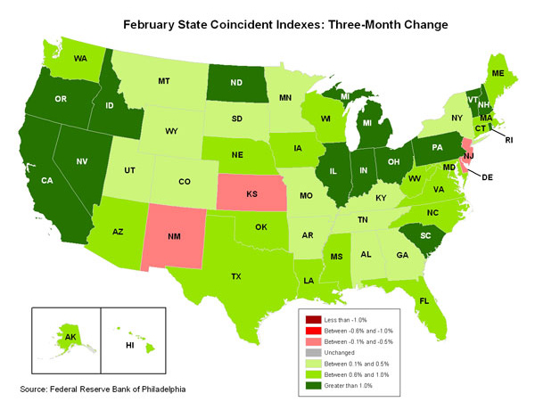 Map of the U.S. showing the State Coincident Indexes Three-Month Change in February 2011