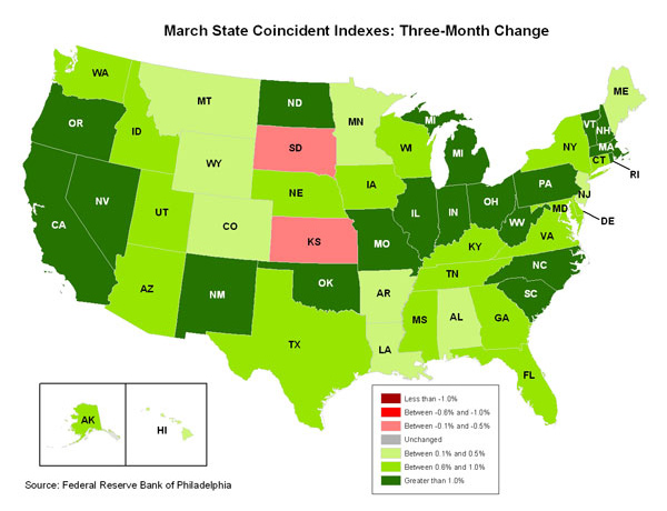 Map of the U.S. showing the State Coincident Indexes Three-Month Change in March 2011