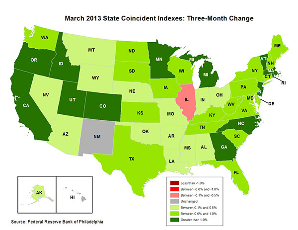 Map of the U.S. showing the State Coincident Indexes Three-Month Change in March 2013