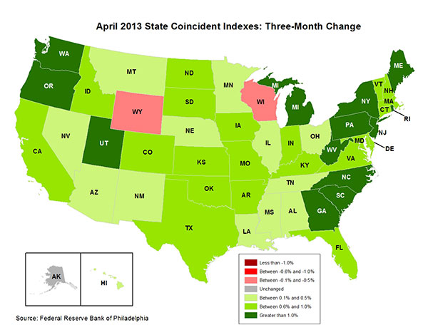 Map of the U.S. showing the State Coincident Indexes Three-Month Change in April 2013
