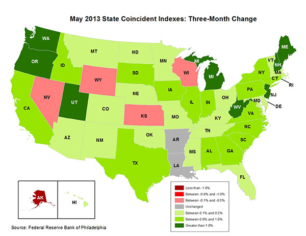 Map of the U.S. showing the State Coincident Indexes Three-Month Change in May 2013