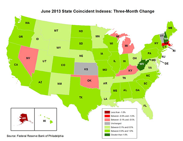 Map of the U.S. showing the State Coincident Indexes Three-Month Change in June 2013