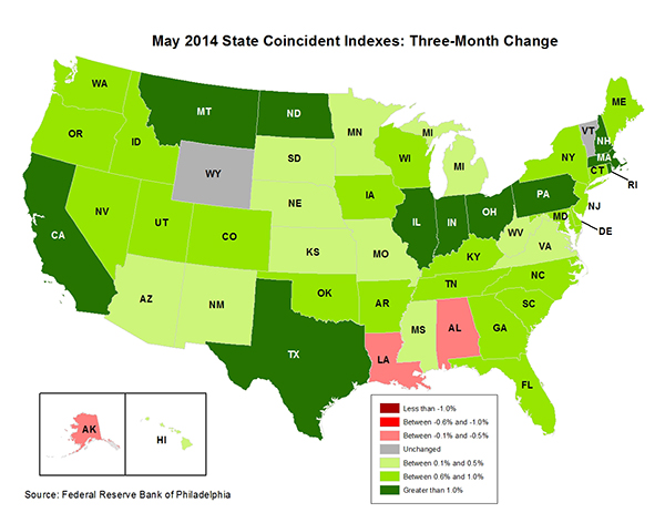 Map of the U.S. showing the State Coincident Indexes Three-Month Change in May 2014