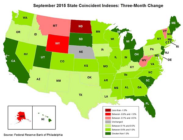 Map of the U.S. showing the State Coincident Indexes Three-Month Change in September 2015