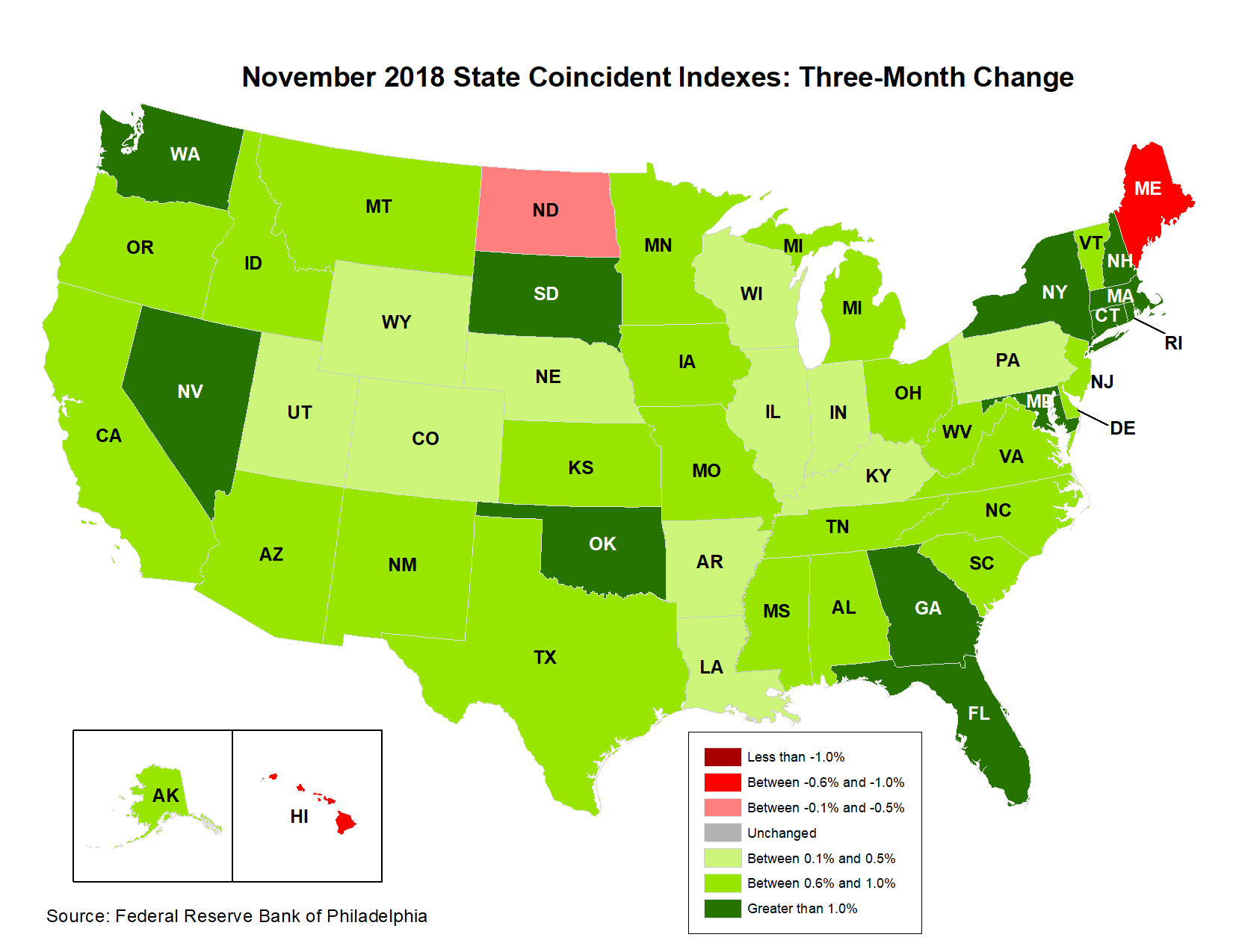 Map of the U.S. showing the State Coincident Indexes Three-Month Change in November 2018