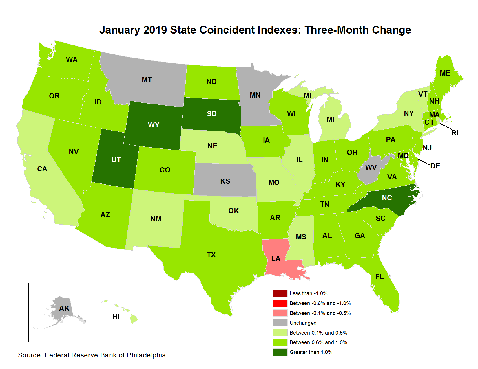 Map of the U.S. showing the State Coincident Indexes Three-Month Change in January 2019