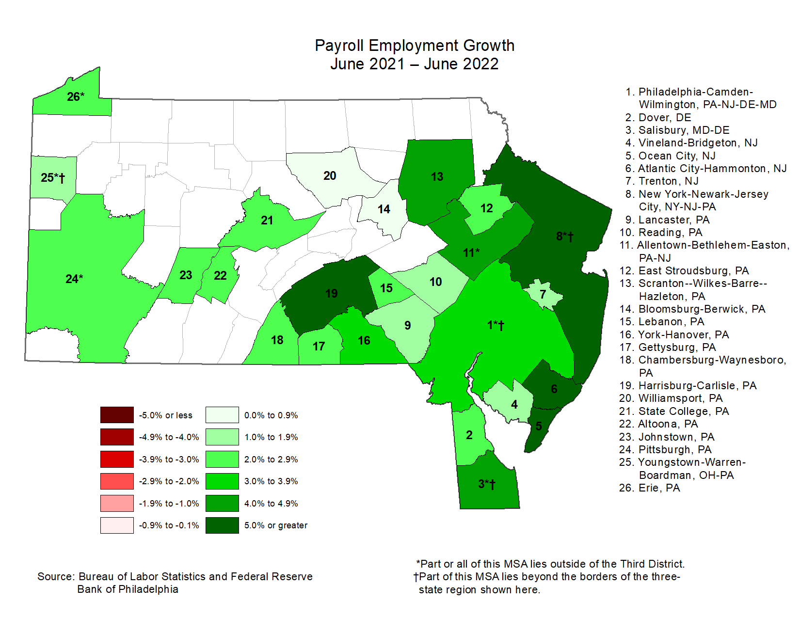 Map showing Payroll Employment Growth