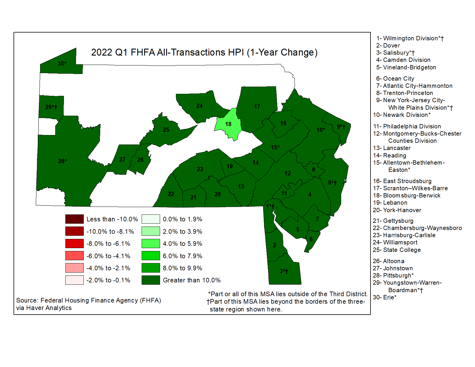 Map showing FHFA All-Transactions HPI (1-Year Change)