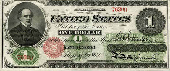 $1 legal tender note, issued in 1862