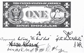 Initial design of the new currency, with Roosevelt's suggested changes indicated in his own handwriting and signed with his initials, FDR.