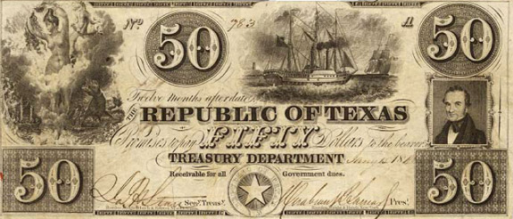 $50 note issued by Republic of Texas, pre-1845