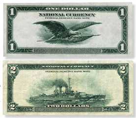 $1 and $2 Federal Reserve bank notes, series 1918